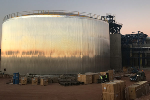Finalización del diseño, fabricación y montaje de los tanques de sales y agua en la Planta termo solar de ILANGA (Sudáfrica)